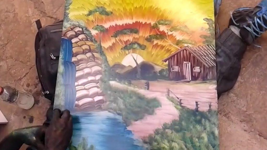 Finger Painting Artist Creates Stunning Landscape!
